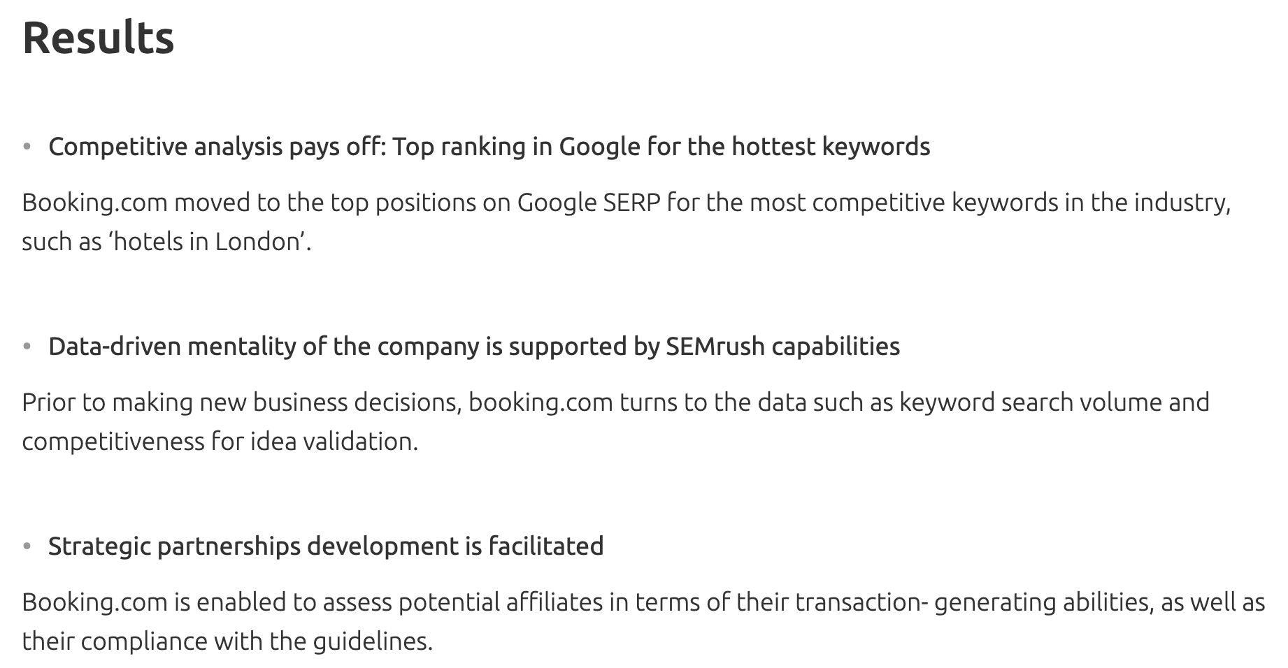 SEMrush Results